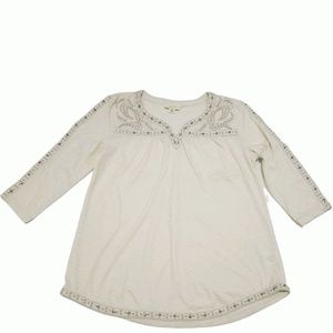 Style Co Embroidered Split-Neck Top Mix Media XL